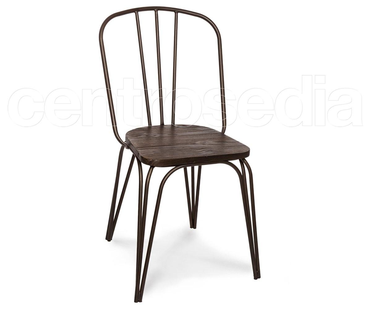 Sedie In Ferro Vintage.Dakota Old Style Metal Chair Wood Seat Vintage Industrial