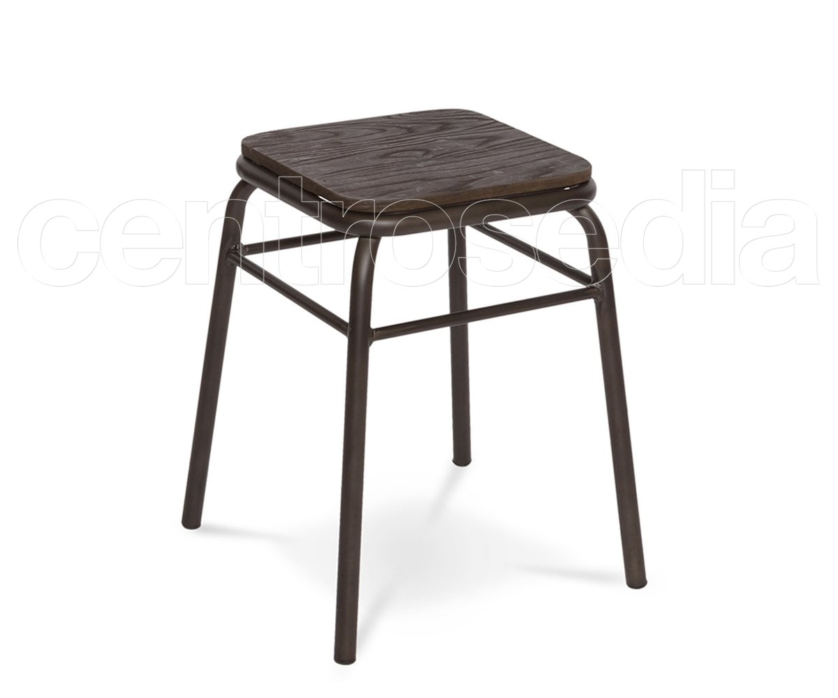 College sgabello basso metallo seduta legno sgabelli bar