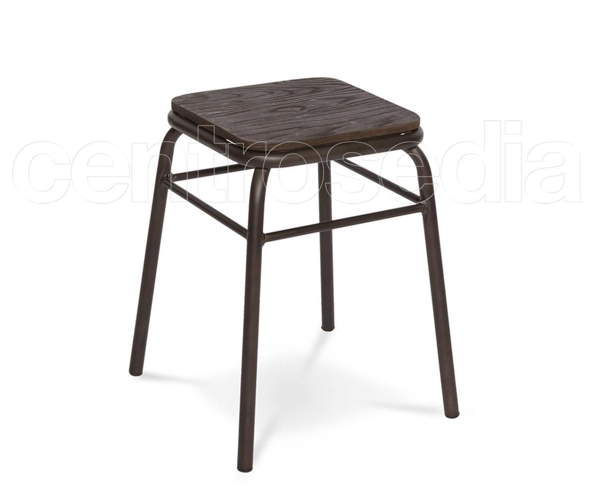 Sgabello Design Industriale : College sgabello basso metallo seduta legno sgabelli vintage e
